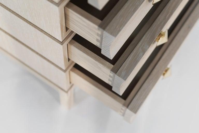 Stamford Modern's Stacked Bedside Tables in Cerused Oak For Sale 6