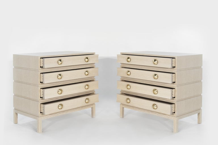 American Stamford Modern's Stacked Bedside Tables in Cerused Oak For Sale