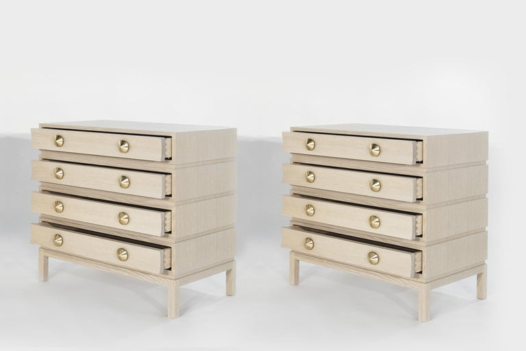 Stamford Modern's Stacked Bedside Tables in Cerused Oak In New Condition For Sale In Stamford, CT
