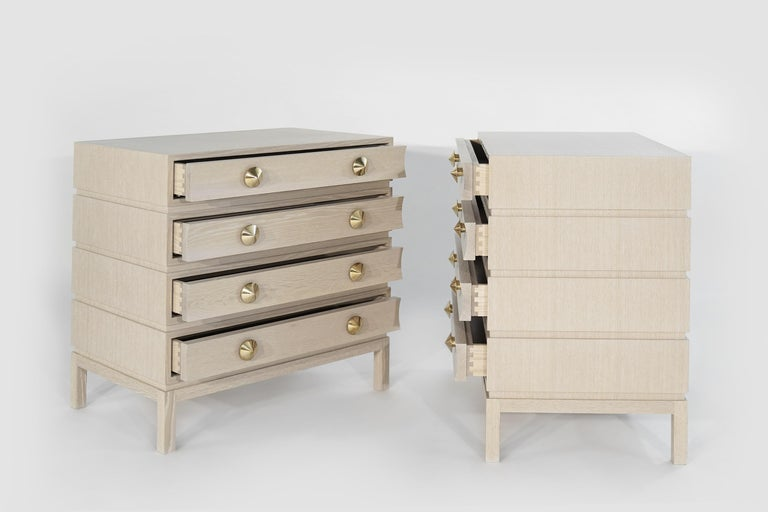 Contemporary Stamford Modern's Stacked Bedside Tables in Cerused Oak For Sale