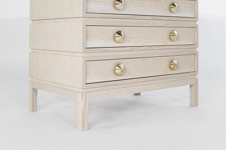 Stamford Modern's Stacked Bedside Tables in Cerused Oak For Sale 1