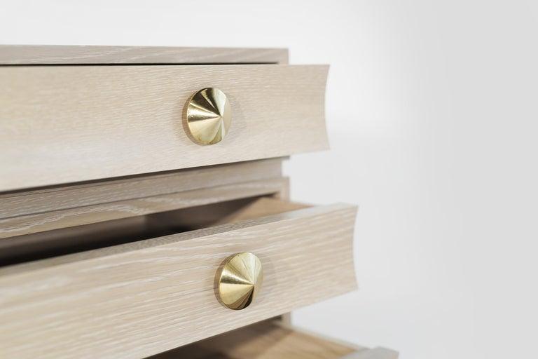 Stamford Modern's Stacked Bedside Tables in Cerused Oak For Sale 2