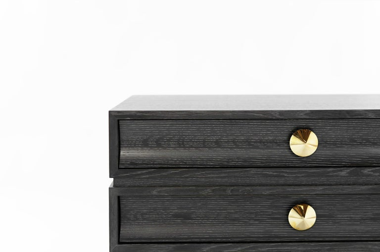 Brass Stamford Modern's Stacked Bedside Tables in Silver Ceruse For Sale