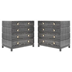 Stamford Modern's Stacked Bedside Tables in Silver Ceruse