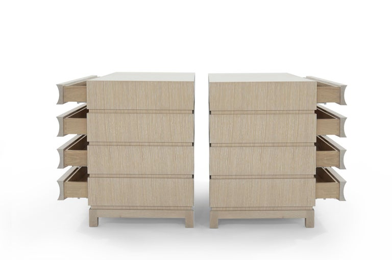 Stamford Modern's Stacked Commodes in Cerused Oak In New Condition For Sale In Stamford, CT