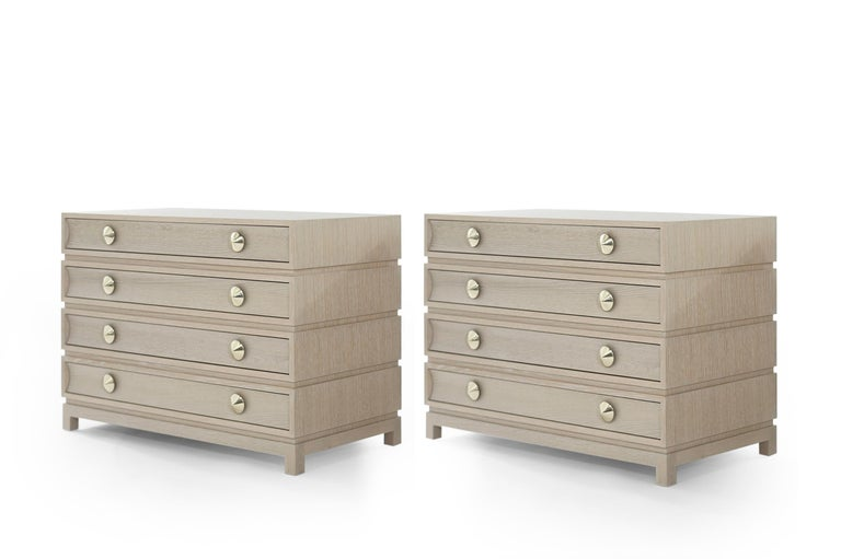 Contemporary Stamford Modern's Stacked Commodes in Cerused Oak For Sale