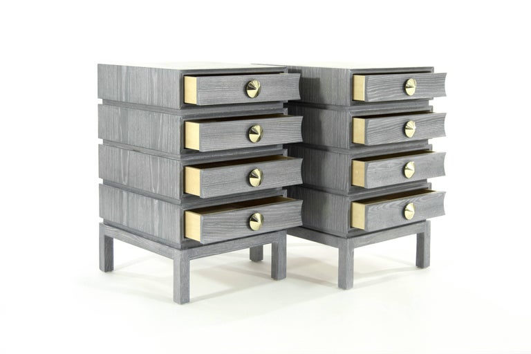 American Stamford Modern's Stacked End Tables in Limed Oak For Sale