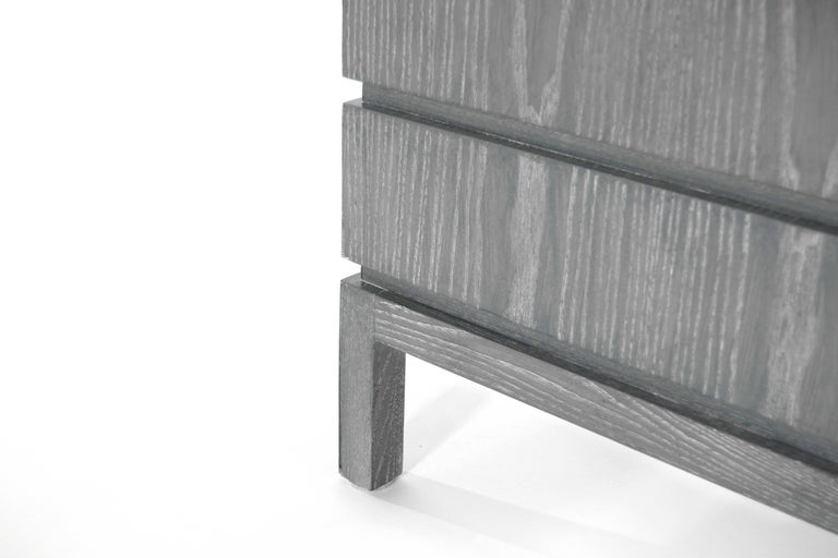 Brass Stamford Modern's Stacked End Tables in Limed Oak For Sale