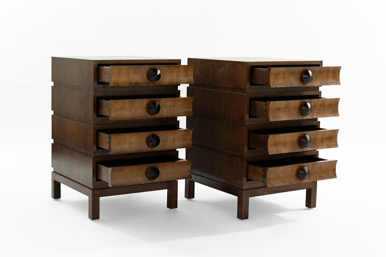 Contemporary Stamford Modern's Stacked End Tables in Walnut For Sale