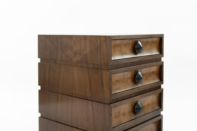Stamford Modern's Stacked End Tables in Walnut For Sale 1
