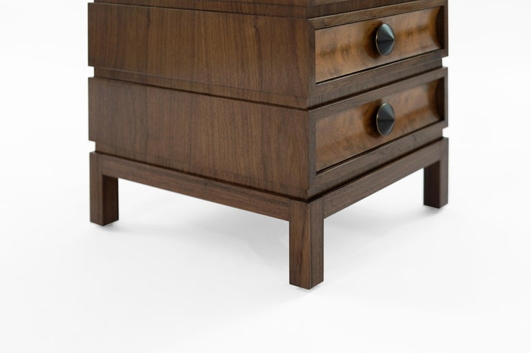 Stamford Modern's Stacked End Tables in Walnut For Sale 2