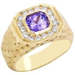 Stamnbolian Princess Cut Tanzanite and Diamond Yellow Gold Men's Ring
