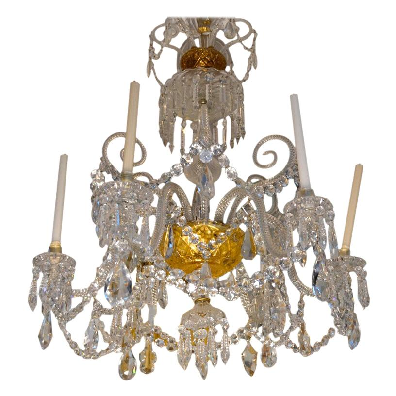 Stamped 19 Century Six-Arm Cut Crystal Baccarat Chandelier
