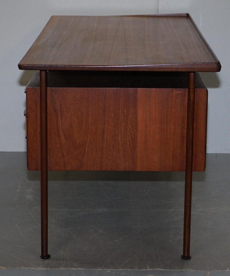 Stamped 1961 Danish Teak Peter Lovig Nielsen for Hedensted Mobelfabrik Desk For Sale 8