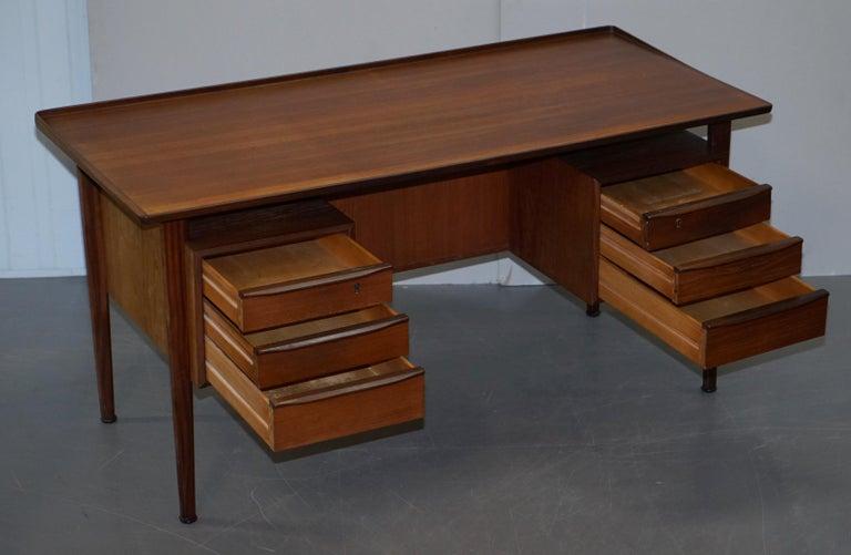 Stamped 1961 Danish Teak Peter Lovig Nielsen for Hedensted Mobelfabrik Desk For Sale 9