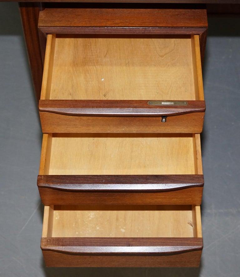 Stamped 1961 Danish Teak Peter Lovig Nielsen for Hedensted Mobelfabrik Desk For Sale 11