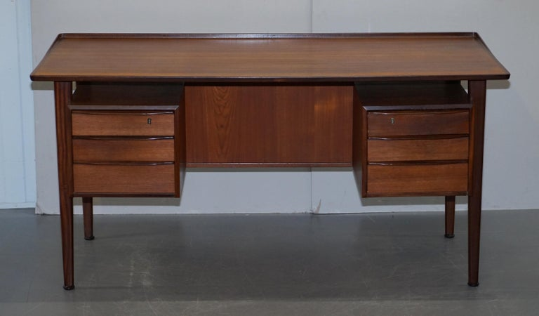 Mid-Century Modern Stamped 1961 Danish Teak Peter Lovig Nielsen for Hedensted Mobelfabrik Desk For Sale