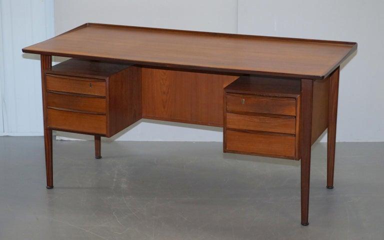 Hand-Crafted Stamped 1961 Danish Teak Peter Lovig Nielsen for Hedensted Mobelfabrik Desk For Sale