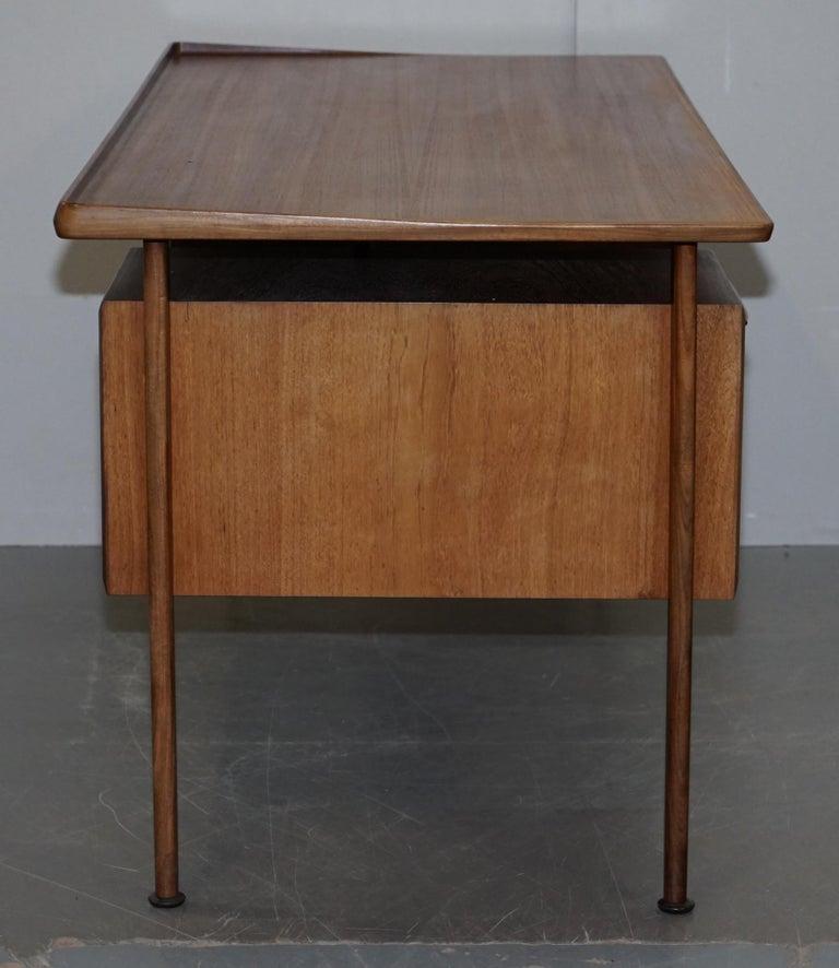 Stamped 1961 Danish Teak Peter Lovig Nielsen for Hedensted Mobelfabrik Desk For Sale 3