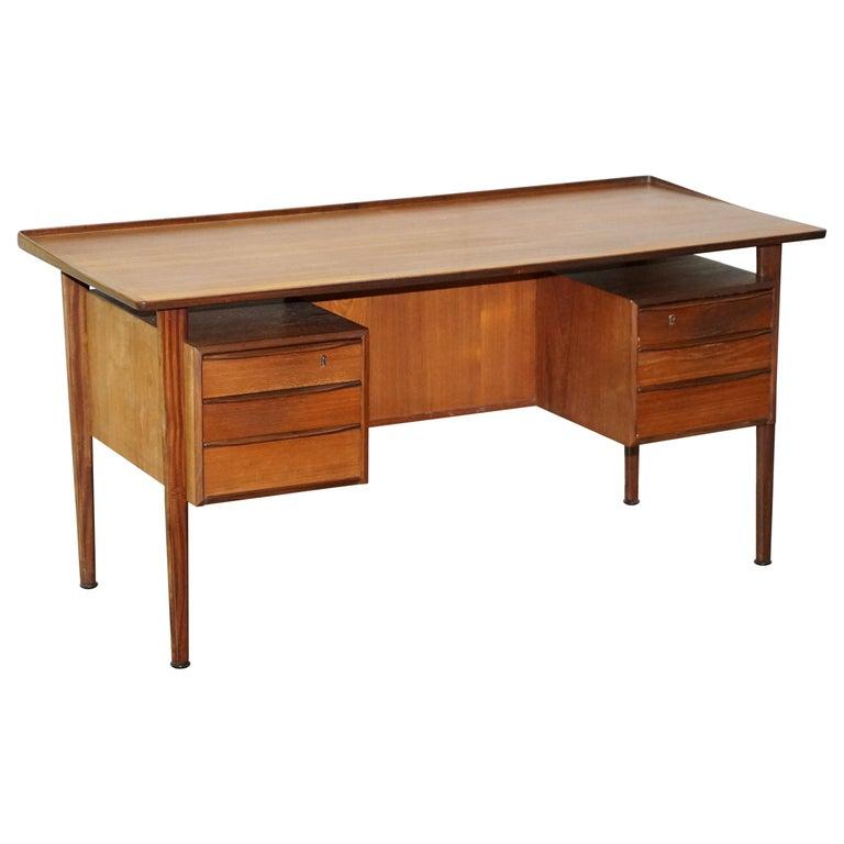 Stamped 1961 Danish Teak Peter Lovig Nielsen for Hedensted Mobelfabrik Desk For Sale
