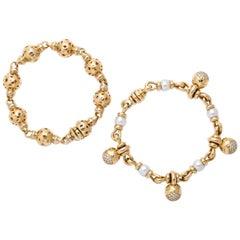 Bvlgari 18 Karat Yellow Gold Charm Bracelet Set