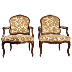 Stamped by Martin Jardin Pair of Large Louis XV Walnut Armchairs, circa 1760