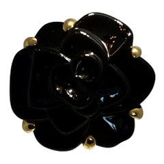 Stamped Chanel 18K Yellow Gold With Carved Black Onyx Camellia Cocktail Ring