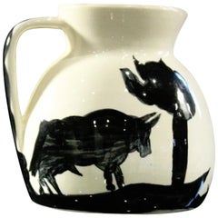 Stamped Edition Padilla Picasso Pottery Pitcher, Taureau et Picador (A. R. 369)