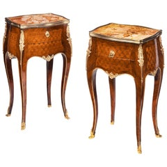 Stamped Gillows a Pair of French Ormolu-Mounted Rosewood and Kingwood Parquetry