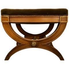 Stamped Jansen X Bench with Gilt Accents Velvet Upholstery Seat