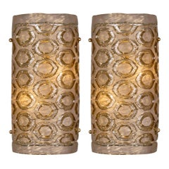 Stamped Modernist Murano Glass Sconces