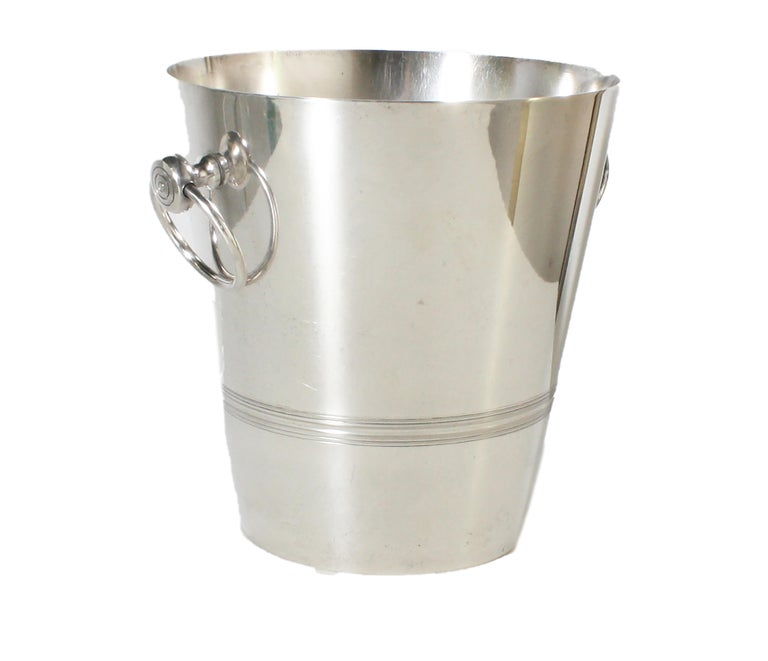 Stamped Silver Plated Ice Bucket, circa 1960 In Good Condition For Sale In Dallas, TX