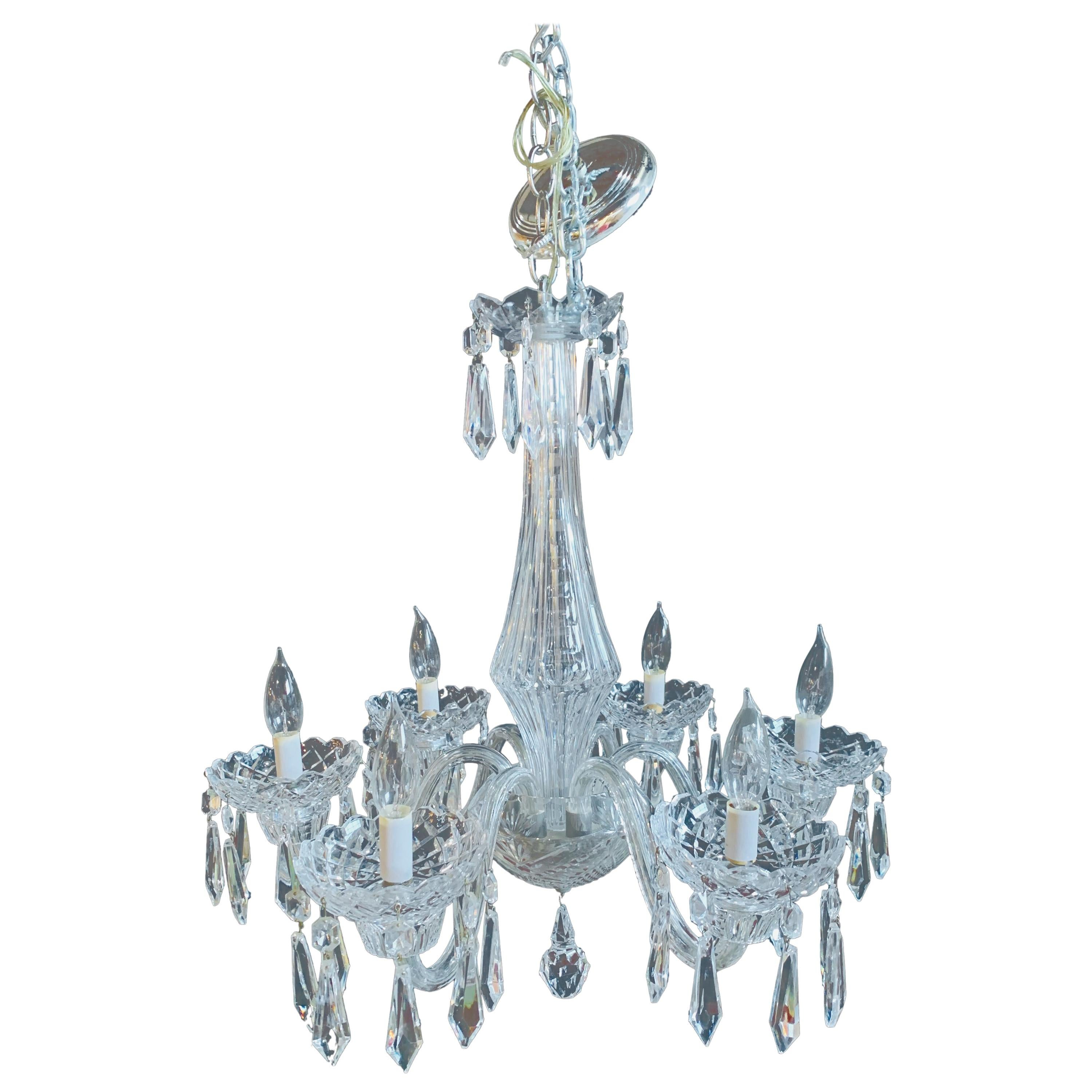 """Stamped """"Waterford"""" Six-Light Art Deco Style Crystal Chandelier"""