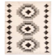 Stamverband I White and Black Hand Knotted Goat's Wool Rug