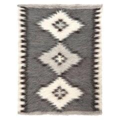 Stamverband IIII White, Gray and Black Handwoven Rug