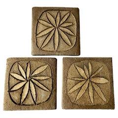 Stan Bitters Hans Sumph Ceramic Clay Sgraffito Tiles Trio