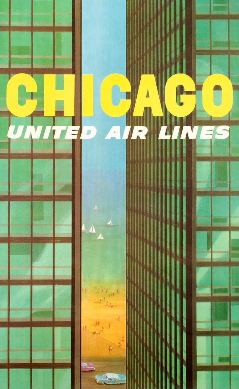 """""""Chicago - United Air Lines (Mies Building)"""" Original Vintage Travel Poster - Print by Stan Galli"""