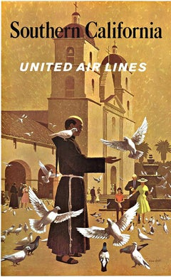 Original Southern California United Airlines vintage travel poster