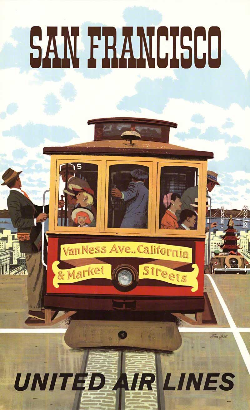 San Francisco United Air Lines original vintage travel poster