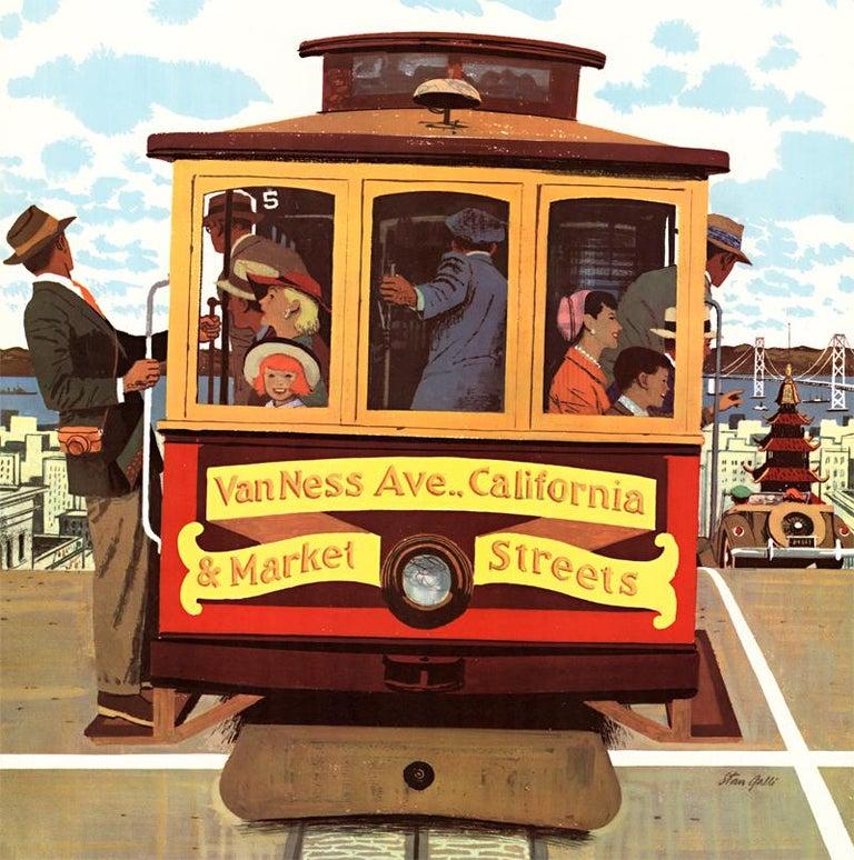 San Francisco United Air Lines original vintage travel poster - Print by Stan Galli