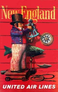 """United Air Lines - New England"" Original Vintage Travel Poster"