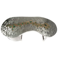 Stan Usel Desk Mosaic Stainless Steel and Malachites