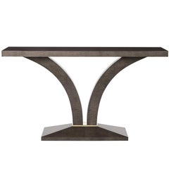 Stanbury Console Table, High Gloss Sycamore Dusk and Polished Brass