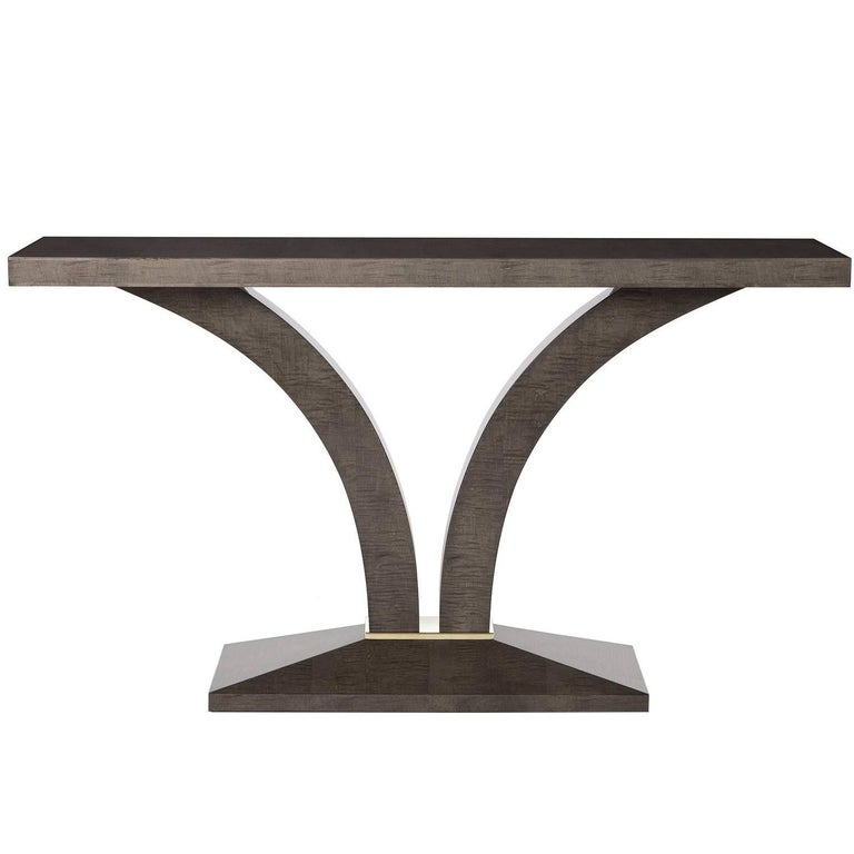 Modern Stanbury Console Table, High Gloss Sycamore Dusk and Polished Brass