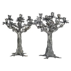Stancampiano Sterling Silver Nine-Light Monumental Pair Tree-Shaped Candelabra