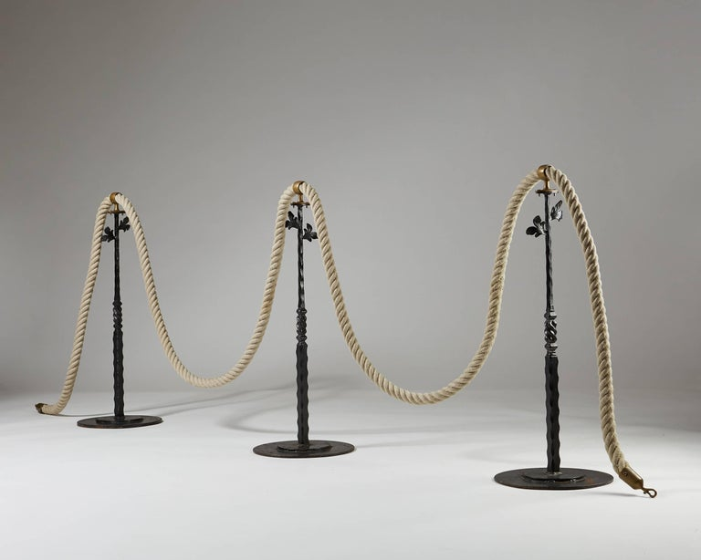 Scandinavian Modern Stanchions with Rope, Anonymous, Sweden, 1900s For Sale