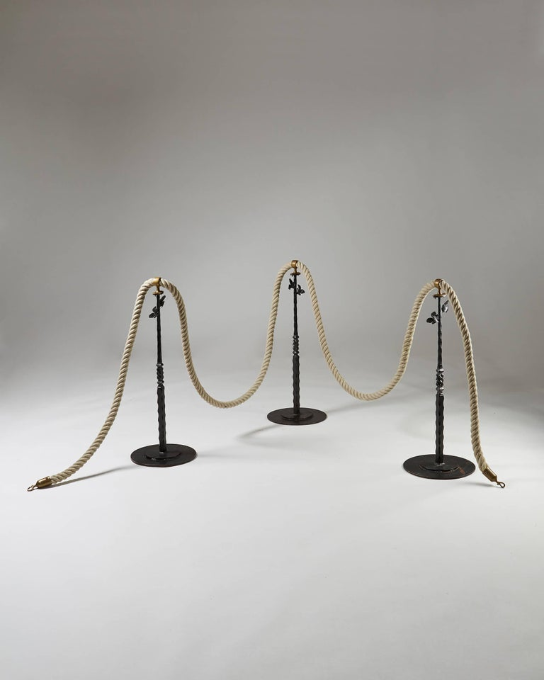 Swedish Stanchions with Rope, Anonymous, Sweden, 1900s For Sale