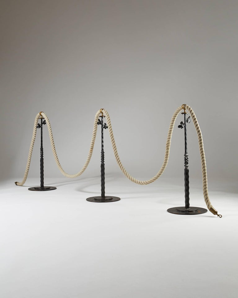 Stanchions with Rope, Anonymous, Sweden, 1900s In Excellent Condition For Sale In Stockholm, SE