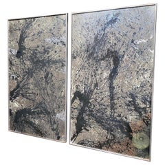 """""""Stand off"""" by Timothy Poe, Diptych Set of Painted Eglomise Abstract Mirrors"""