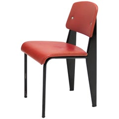Standard Chair Designed by Jean Prouve, circa 1950, France, Red, Original